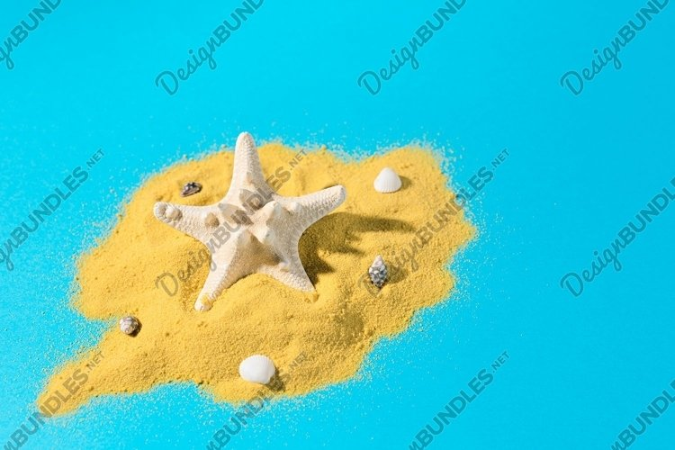 White starfish on bright yellow sand with small sea shells