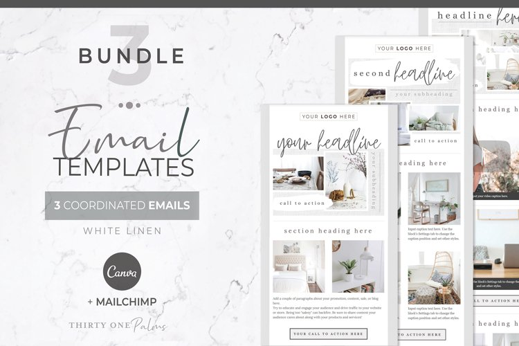 Email Templates for Canva & Mailchimp| White Linen| 3 Pack example image 1