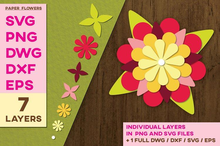 3D Paper Cut Flowers Template SVG Sublimation Flower Layers