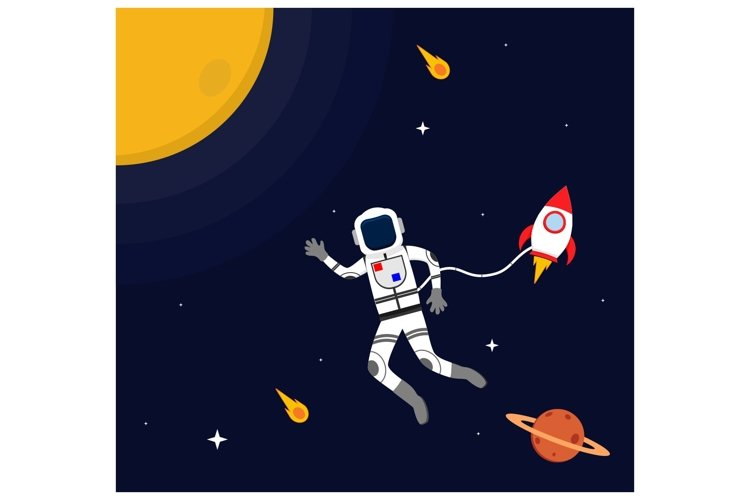 Astronaut fly with Spacecarft in Outer Space flat design example image 1