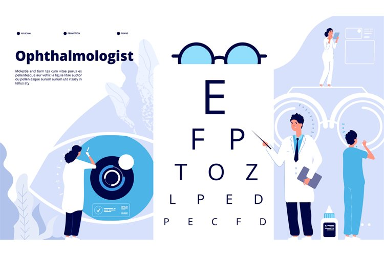Ophthalmology landing. Ophthalmologist checks patient sight. example image 1