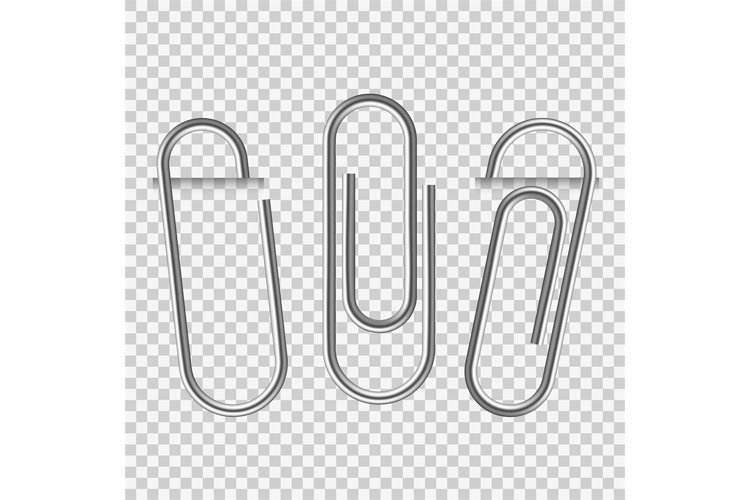 Paperclip on paper. Silver notepapers fix clip appliance and example image 1