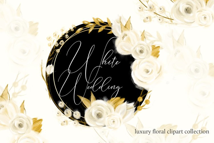 White watercolor roses with golden leaves