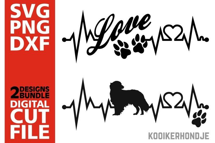 2x Kooikerhondje Bundle svg, Dog svg, Heartbeat svg, Love example image 1