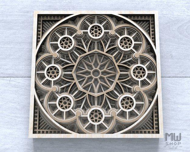 Layered Mandala SVG, 3D Mandala SVG, Laser Cut Mandala - D01 example 1