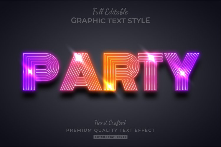 Gradient Party 3d Text Style Effect Premium example image 1
