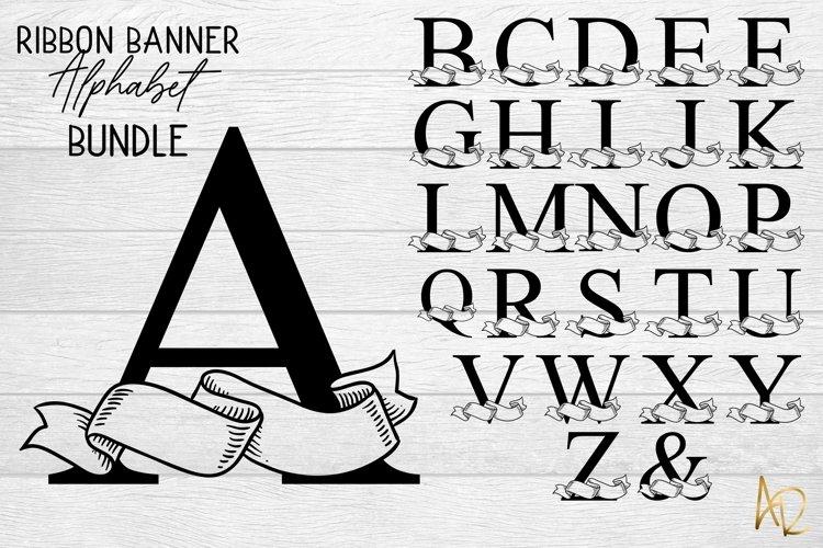 The Ribbon Banner Alphabet Bundle | SVG Monogram set example image 1