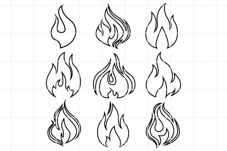 Fire SVG. Filre clipart. Fire cutting files. Flame SVG.
