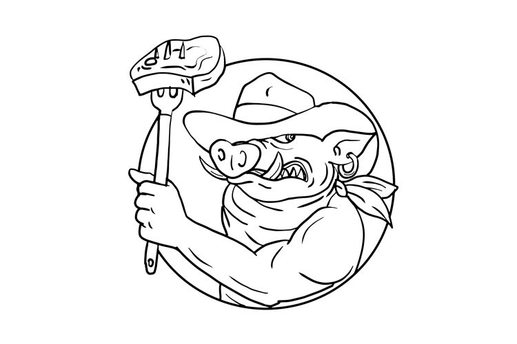 Cowboy Wild Pig Holding Barbecue Steak Drawing Black and Whi example image 1