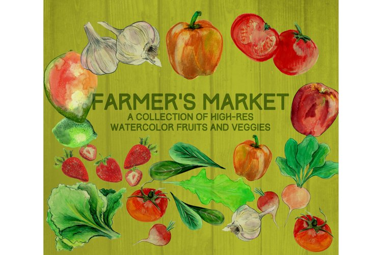 Farmer's Market Watercolor Illustrations example image 1