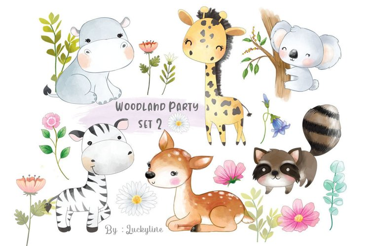 Woodland party clipart set 2 example image 1