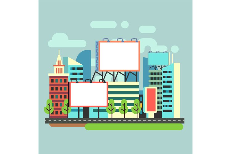 Urban empty advertisement billboards in flat city vector ill example image 1