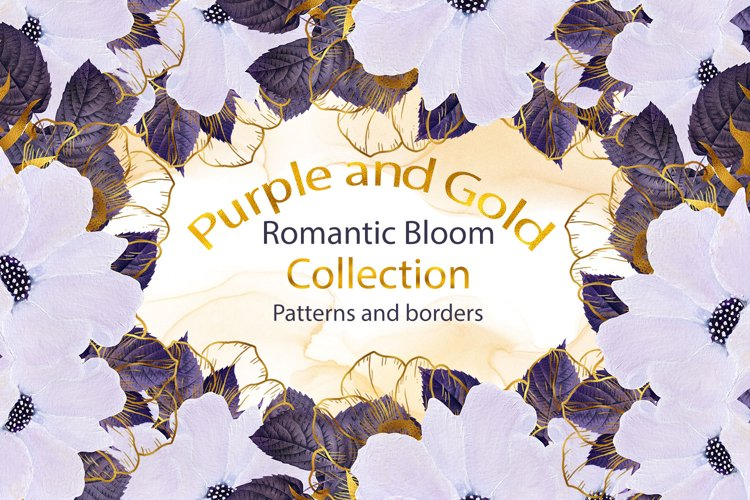 Purple and Gold Romantic Bloom Patterns and Borders example image 1