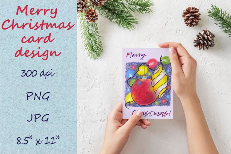 Christmas card template. Xmas card design with baubles example image 1