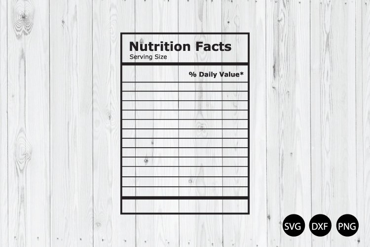 Blank Nutrition Facts SVG, Nutrition Facts Template SVG example image 1