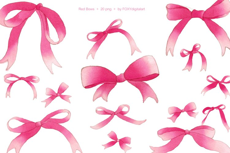 Red Christmas Bows Watercolor Clipart example image 1
