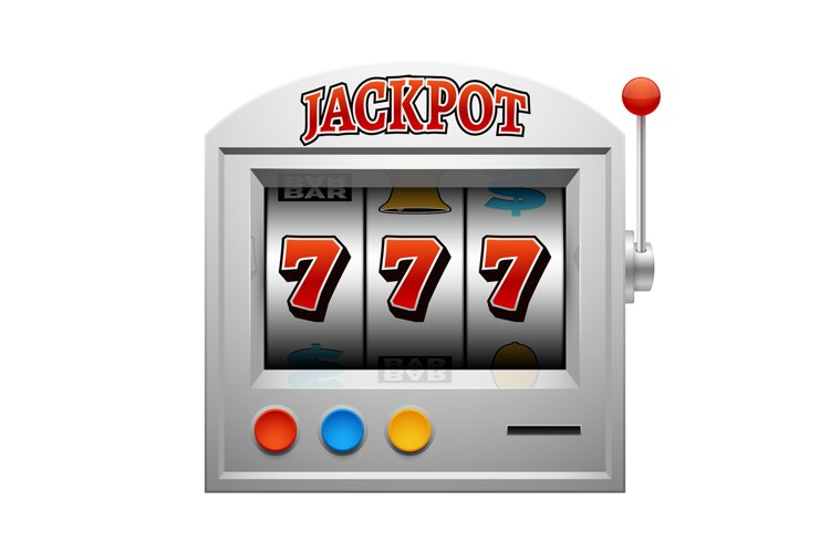 Casino slot gambling machine vector lucky and win concept example image 1