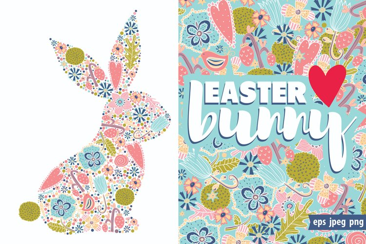 Cute floral Easter bunny. example image 1