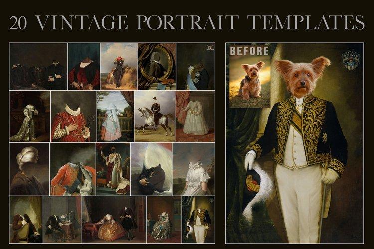 20 vintage portrait templates royal pet, overlay, oil paint