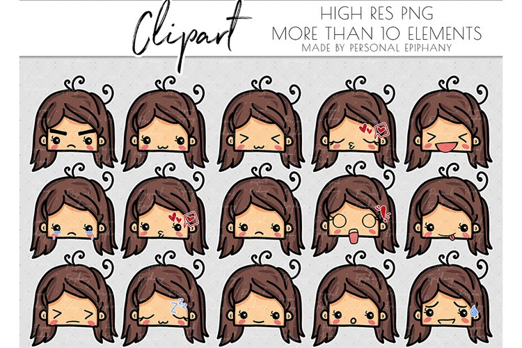 emoji clipart, emoticons clipart, cute face, mood tracker example image 1
