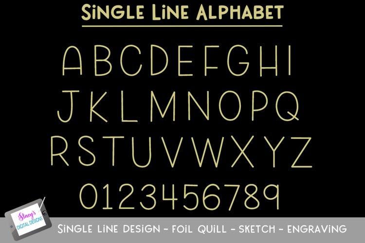 Single Line Alphabet - Foil Quill - Sketch - Engraving