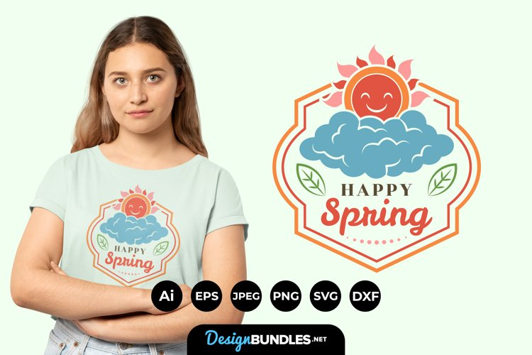 Happy Spring Hand Lettering SVG example image 1