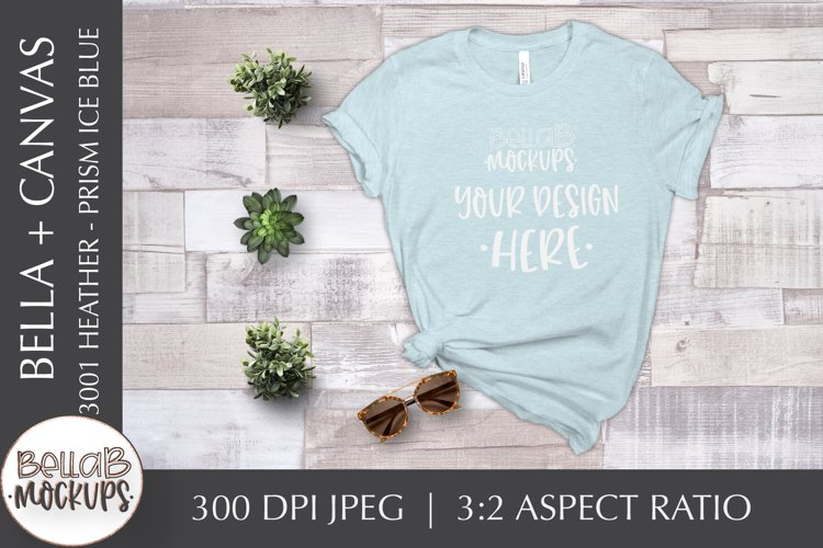 Bella Canvas 3001 Heather T Shirt Mockup, Prism Ice Blue example image 1