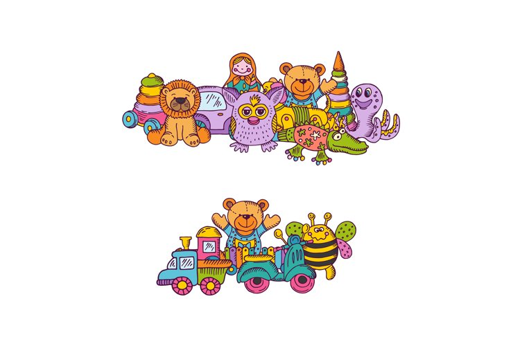 Vector set of big kid toys piles hand drawn and colored isol example image 1