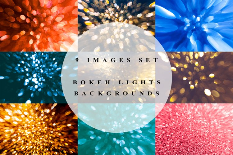 Set of 9 backgrounds with bokeh lights example image 1