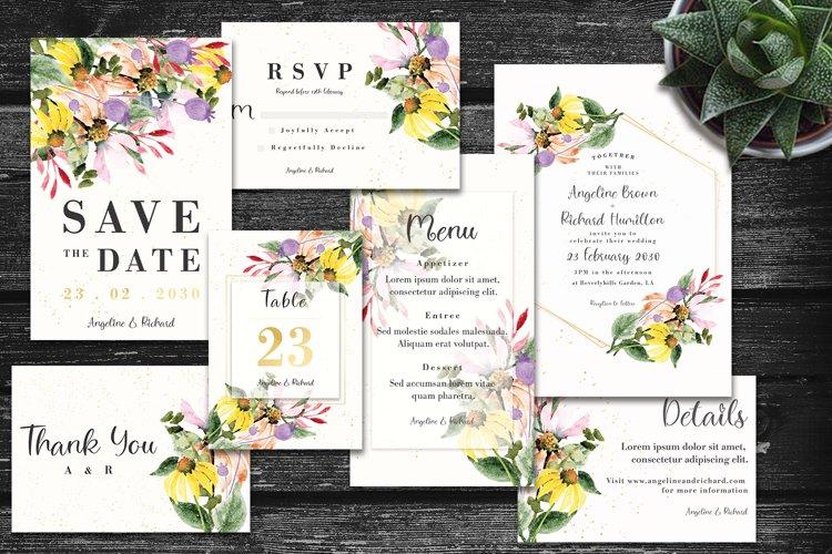 Colorful Daisy Flower Wedding Invitation Set example image 1