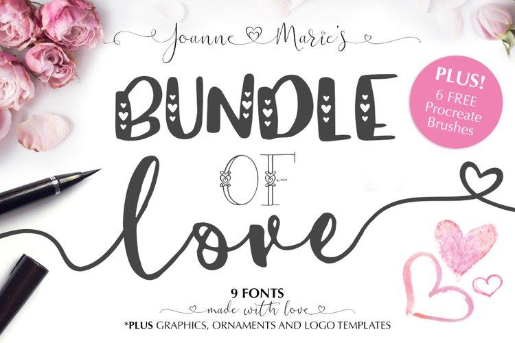 Valentine's Font Bundle with 6 Free Procreate Brushes example image 1