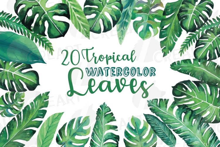 Tropical watercolor decoration green leaves clip art pack. example image 1