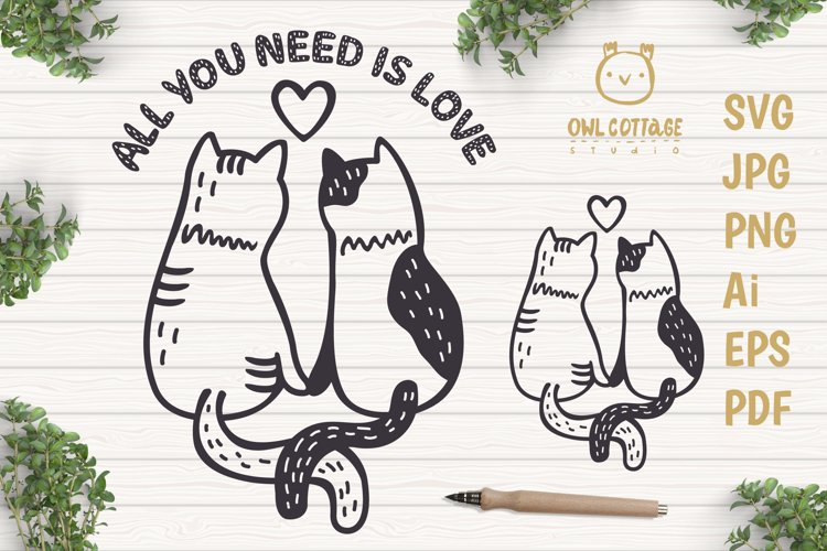 Valentine Cats Couple svg , Cats Clipart, Valentine's Day Sv - Free Design of The Week Font