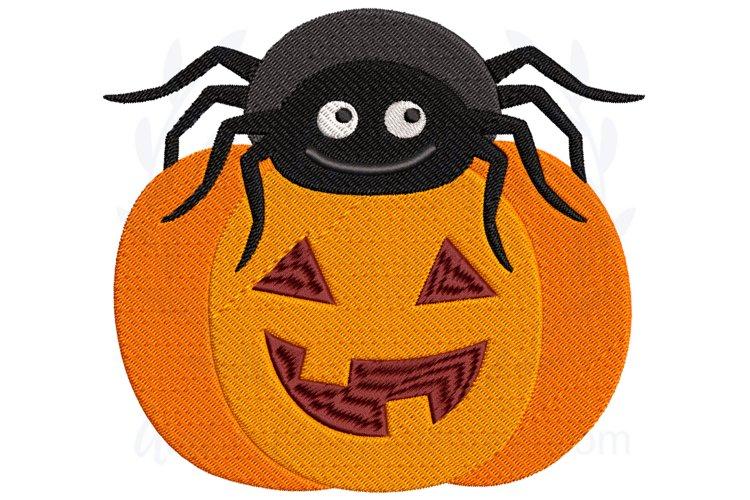Spider Pumpkin Halloween Embroidery Design example image 1