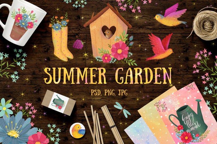 Summer garden clip art/ Flowers set