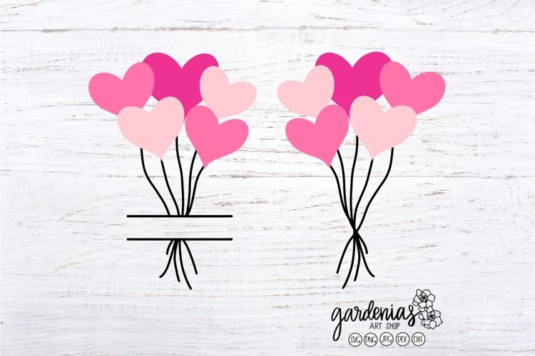Heart Balloon SVG | Split Monogram | Valentine Cut Files