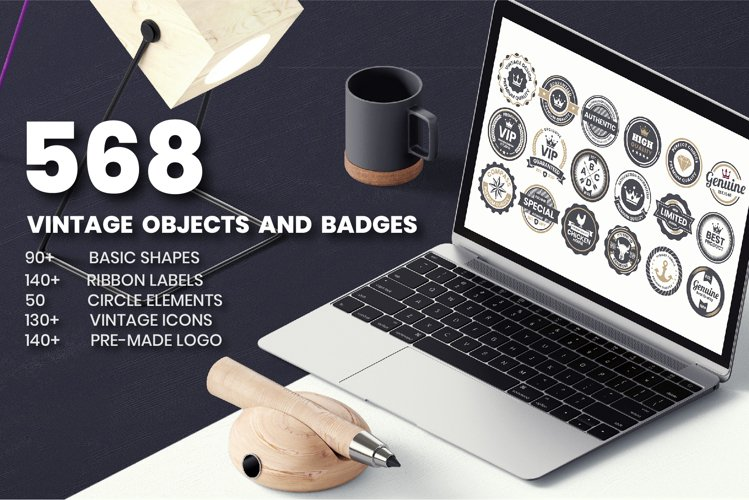 568 Vintage Objects and Badges example image 1