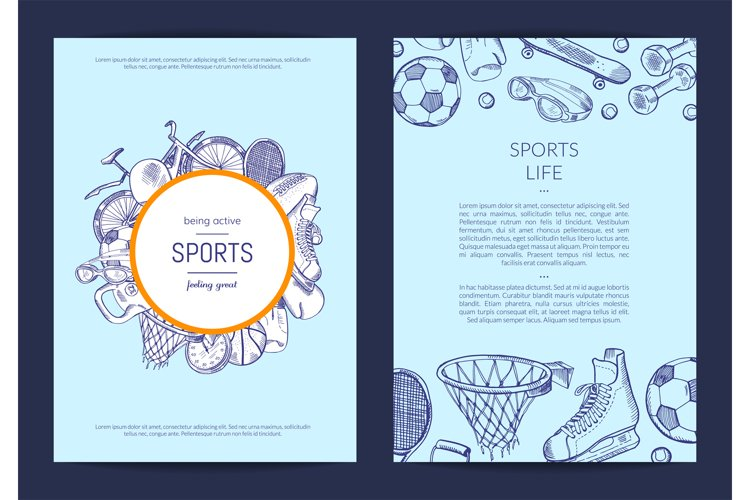 Vector hand drawn sports equipment fitness gym example image 1