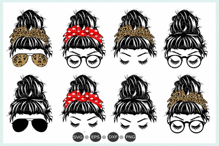 Messy Bun SVG, Messy hair Bundle Hair Bun svg, eps, dxf, png