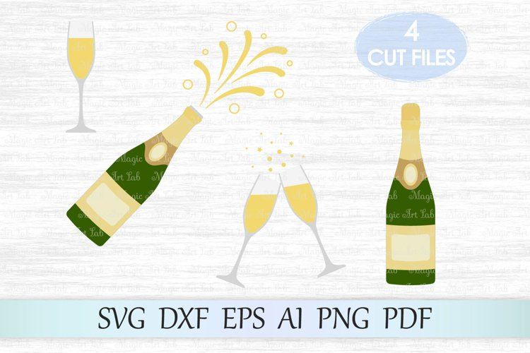 Champagne bottle SVG, Champagne SVG, Bottle Svg, Christmas example image 1