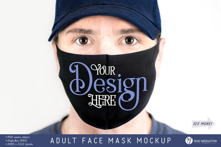 Adult Face Mask mockup | psd, jpg example image 1