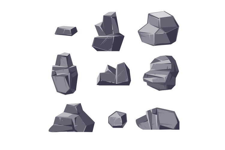 Set of different cartoon-style boulders isolated on white ba example image 1
