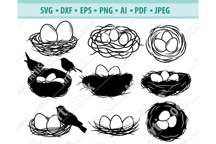 Bird Nest Svg, Birds clipart Png, Bird Eggs Dxf, Png, Eps example image 1