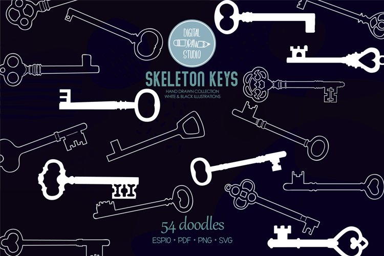 Skeleton Keys White | Hand Drawn Victorian Heart Door Lock example image 1