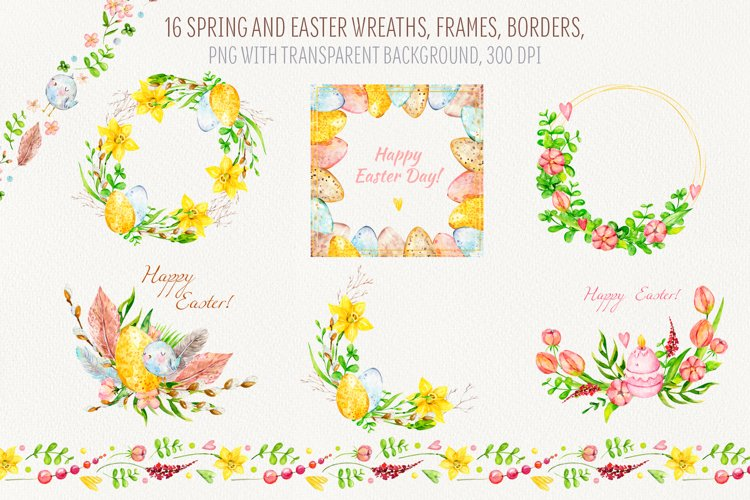Collection of Spring and Easter wreaths, frames and borders example image 1