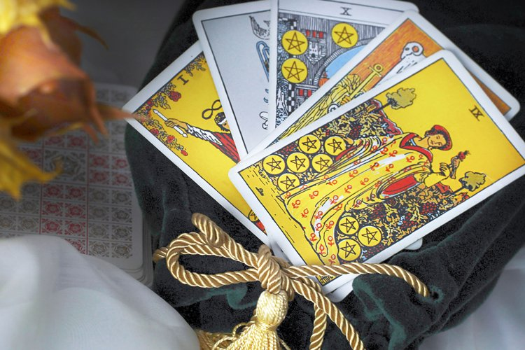 Blurred autumn composition with tarot cards. example image 1