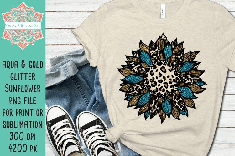Gold Aqua Glitter Leopard Sunflower Sublimation Design
