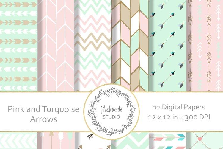 Mint and Blush Arrows digital paper
