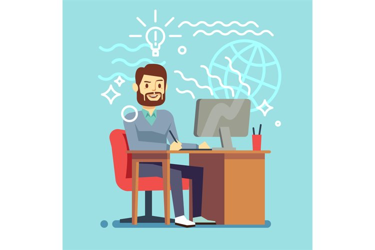 Young designer man working at computer. vector creative proc example image 1