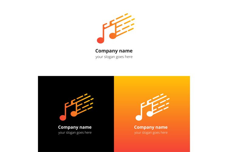 Play music sound button and video movie film strips flat logo icon vector template.